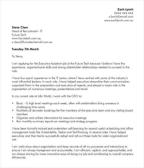 51 simple cover letter templates pdf doc free for Cover letters for executive assistant positions