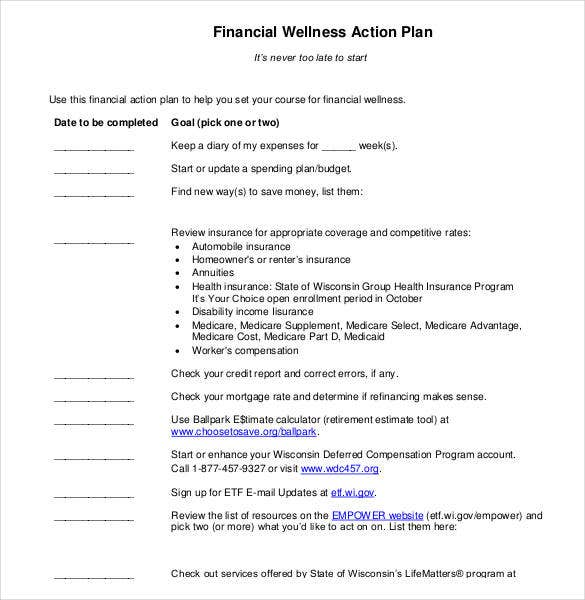 78 action plan templates word excel pdf free for Personal wellness plan template