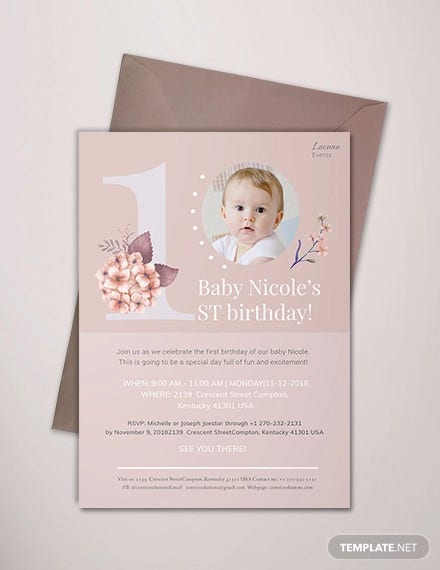 first birthday invitation template