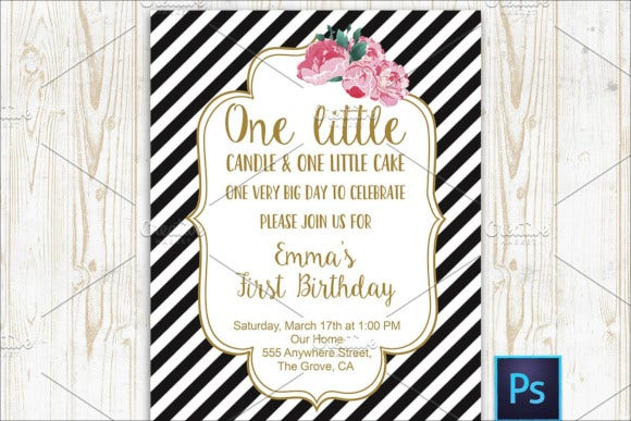 first birthday striped invitation