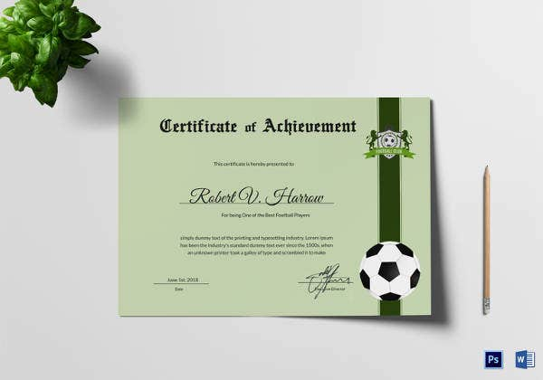 football achievement award template