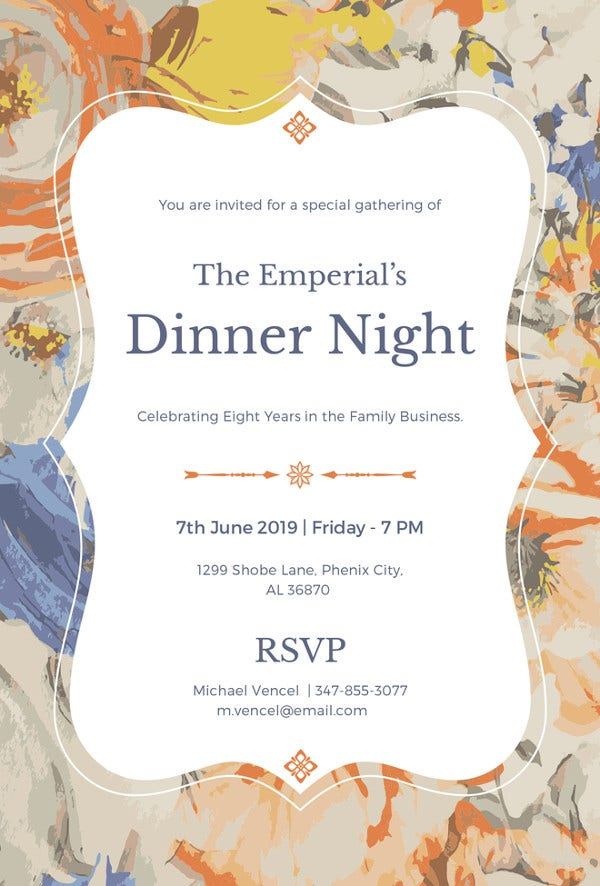 Formal Dinner Invitation Template  Formal Dinner Menu Template