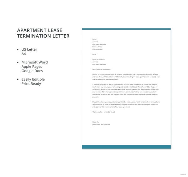 Lease termination letter templates 22 free sample example format free apartment lease termination letter template spiritdancerdesigns Choice Image