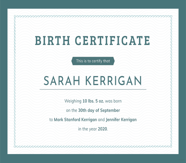 free basic birth certificate template