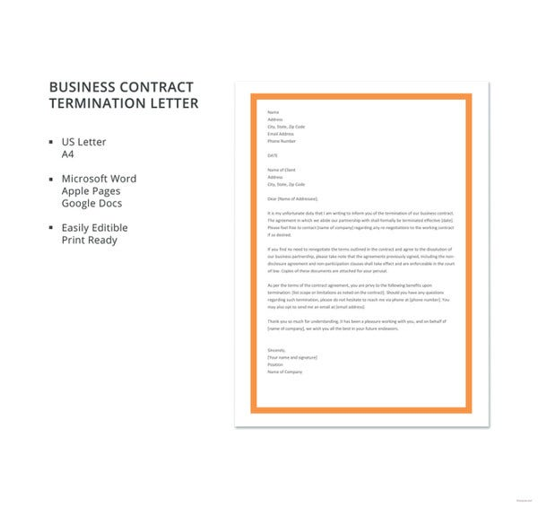 free business contract termination letter template1
