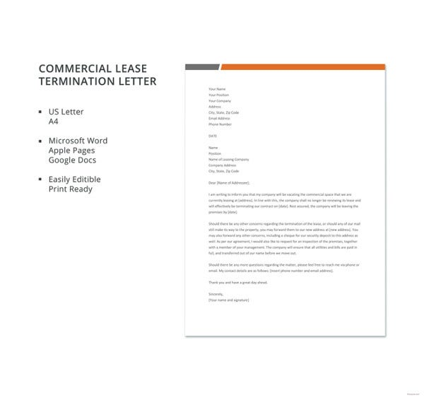 free commercial lease termination letter template1