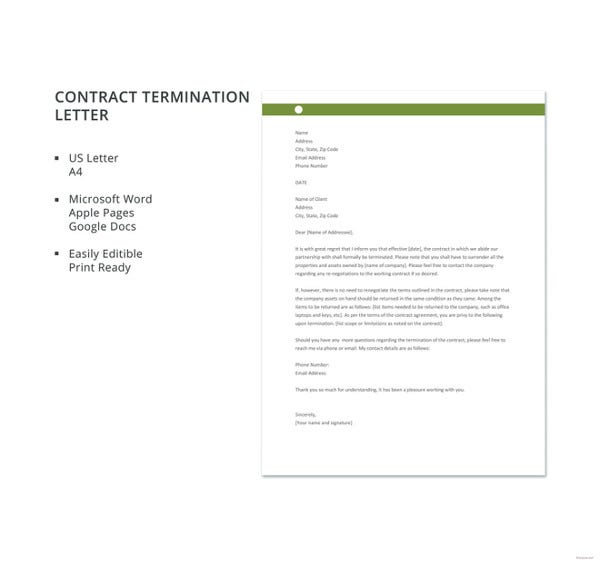 free contract termination letter template1