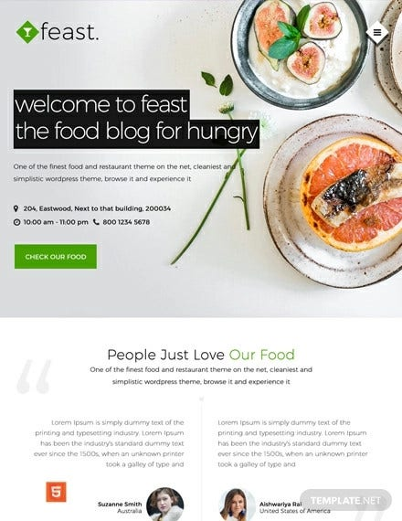 free food blog html5 css3 website