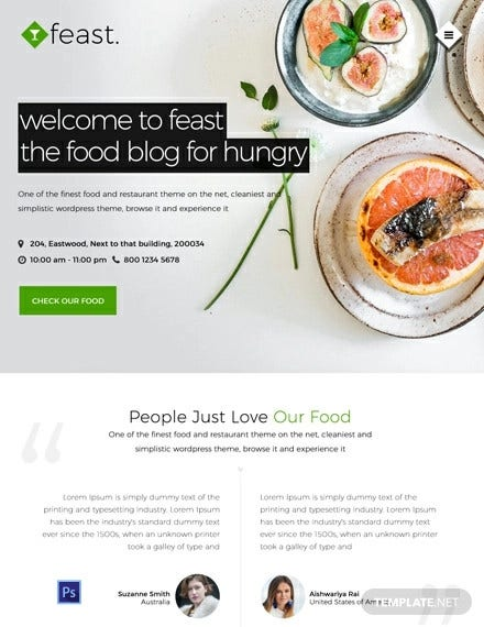 free food blog website template
