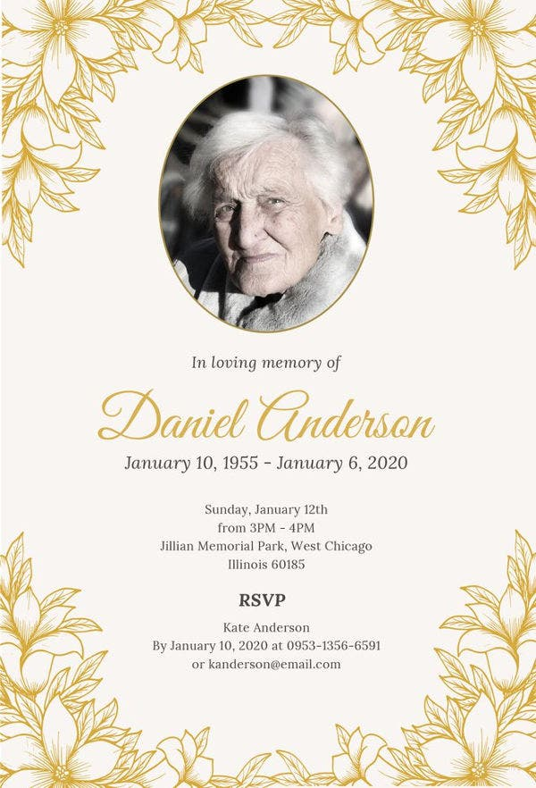 free funeral ceremony invitation template