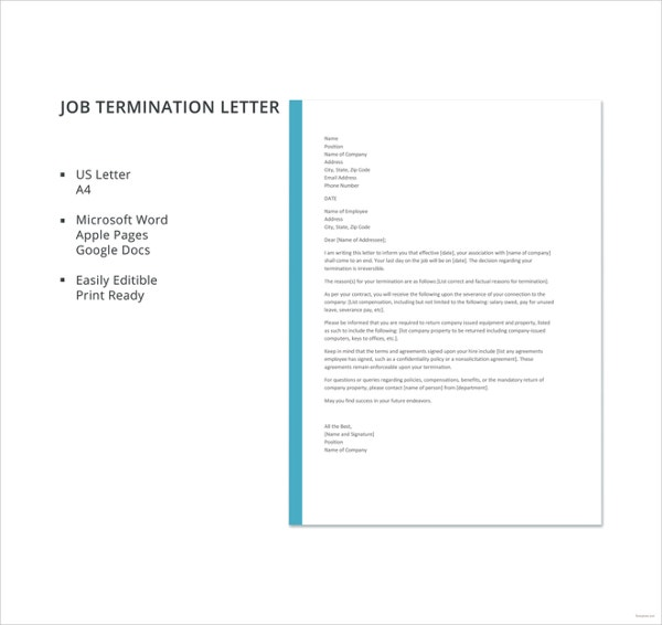 free job termination letter template1