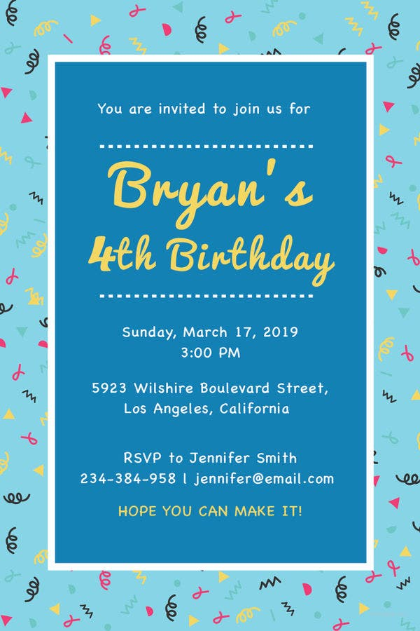 21 kids invitation templates free sample example format