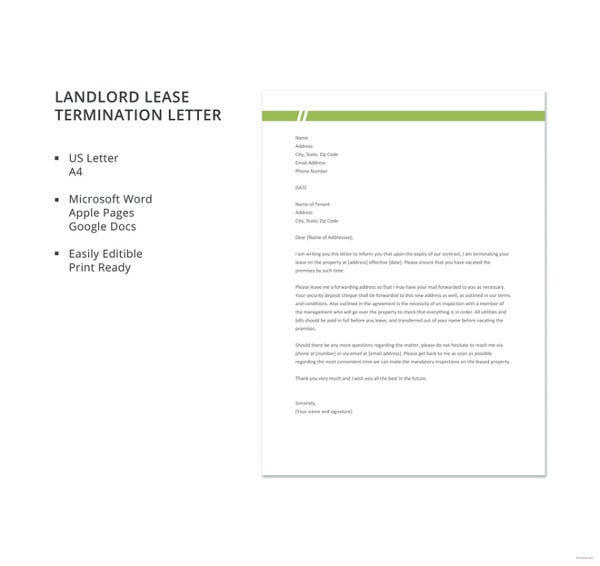 free landlord lease termination letter template1