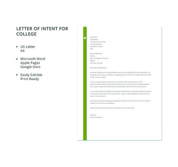 free letter template of intent for college