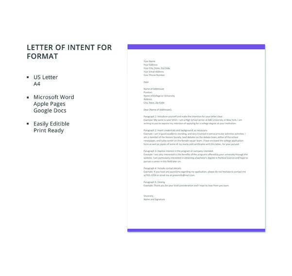 free letter of intent format1