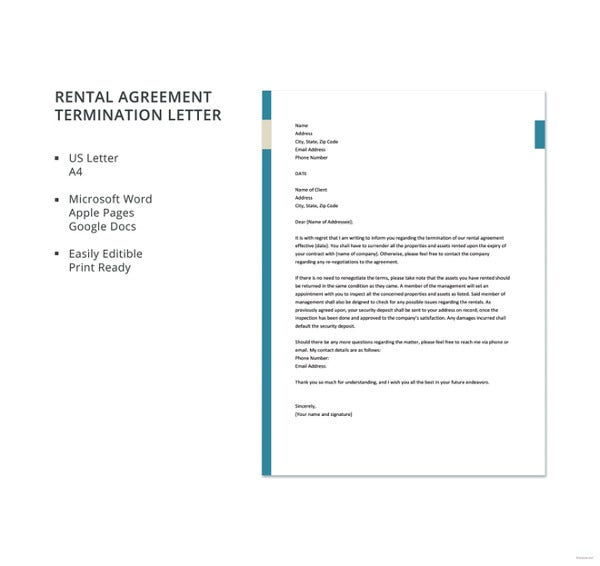 free rental agreement termination letter template