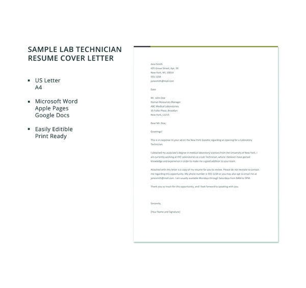 Process Technology Resume: Simple Cover Letter Template