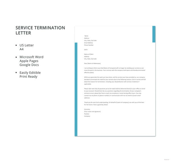 Termination letter of a service contract template sample tender free service termination letter template spiritdancerdesigns Choice Image