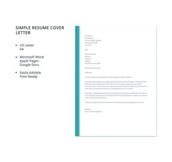 51+ Simple Cover Letter Templates   PDF, DOC | Free & Premium