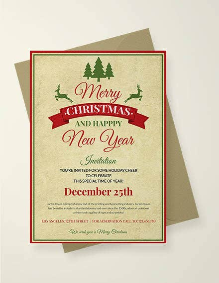 Free Vintage Christmas Invitation
