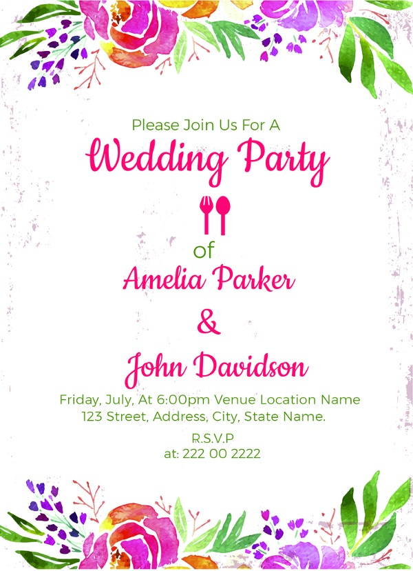 30+ Wedding Party Invitation Templates – Free Sample, Example Format ...