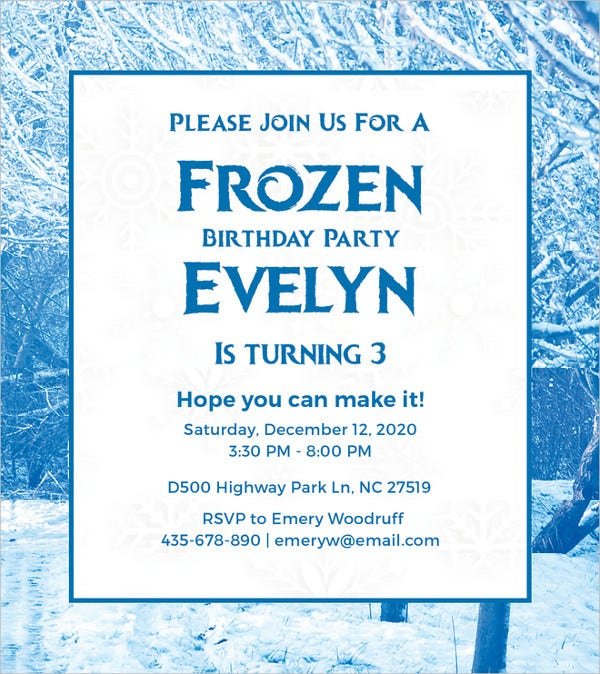 26 frozen birthday invitation templates psd ai eps free frozen birthday invitation template stopboris Images