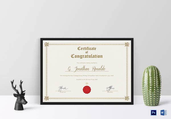 General Format Congratulations Certificate Template  Congratulations Certificates