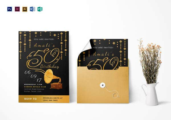 golden gramophone 50th birthday party invitation template1