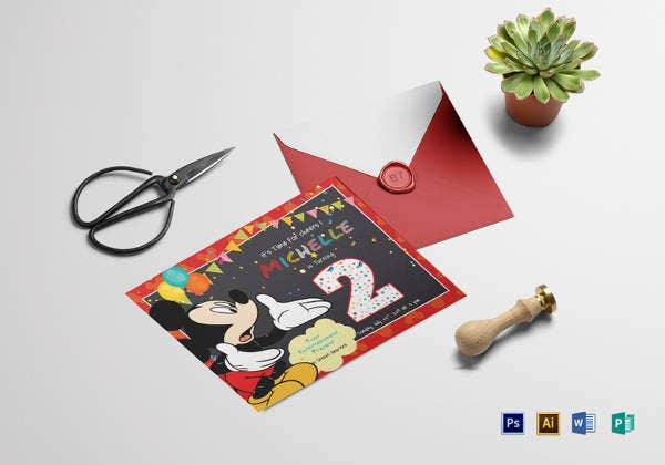 great mickey mouse birthday invitation card
