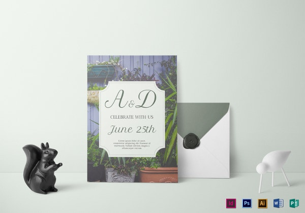 greenery botanical wedding invitation template