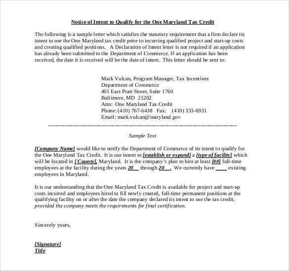 Example Of A Short Job Creation Tax Credit Letter Of Intent  Letter Of Intent Template Job