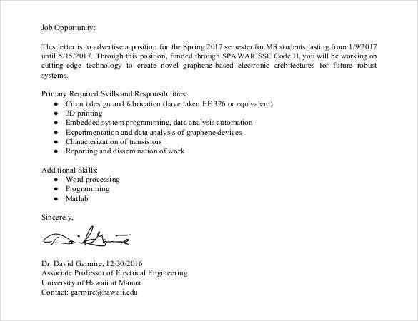 Sample Letter Seeking Job Opportunity