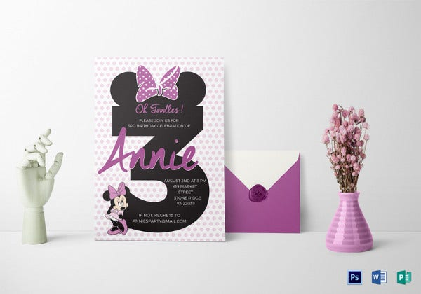 joyous minnie mouse invitation template
