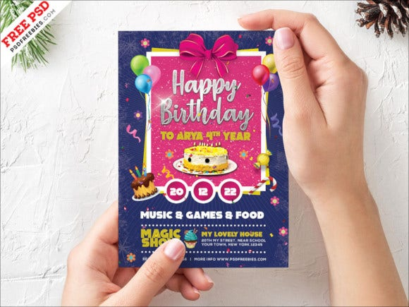 kids happy birthday party invitation card