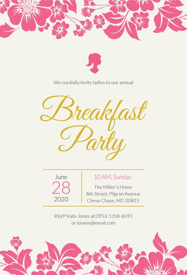 ladies breakfast invitation template