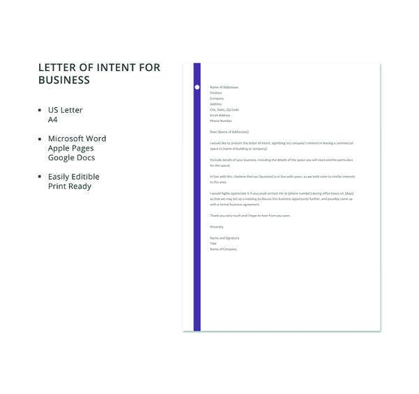 letter template of intent for business2