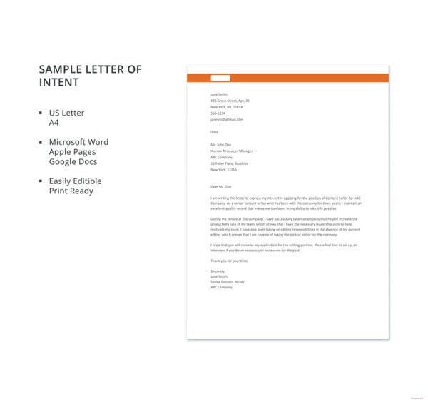 12 business letter of intent templates pdf doc free premium sample letter of intent details spiritdancerdesigns Gallery