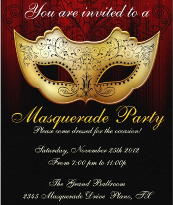 masquerade party celebration invitation