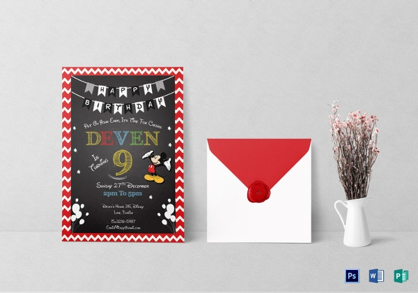 mickey mouse chalkboard invitation card template