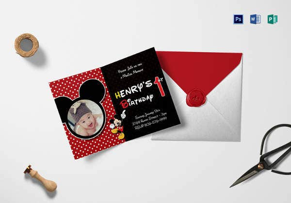 mickey mouse first birthday invitation card template