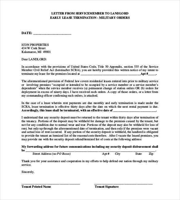 military lease termination letter to landlord - Notice Of Lease Termination