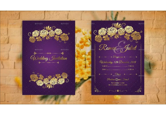 modern traditional style wedding invitation template