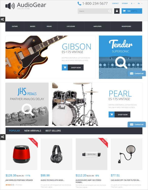 music store equipment html5 prestashop theme
