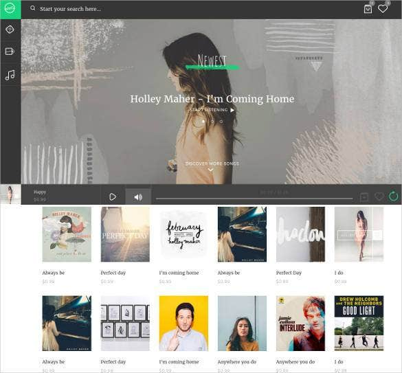 music streaming html 5 website template1