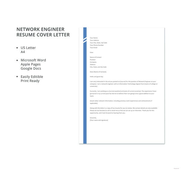 network engineer resume cover letter template