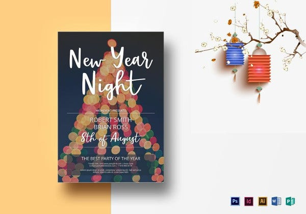 new year party flyer illustrator template