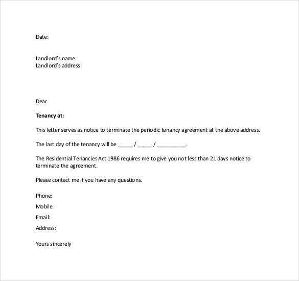 Lease Termination Letter Templates 18 Free Sample Example – Lease Termination Letter Format