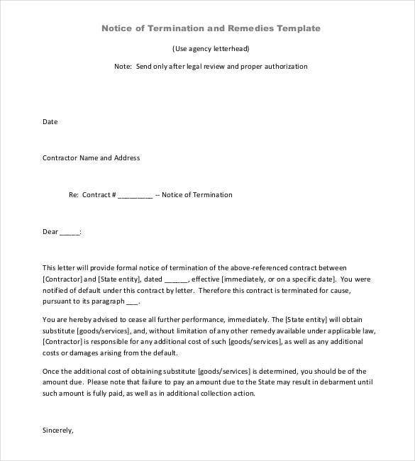 Notice Of Termination Contract Letter Download. Doa.nc.gov. Details. File  Format