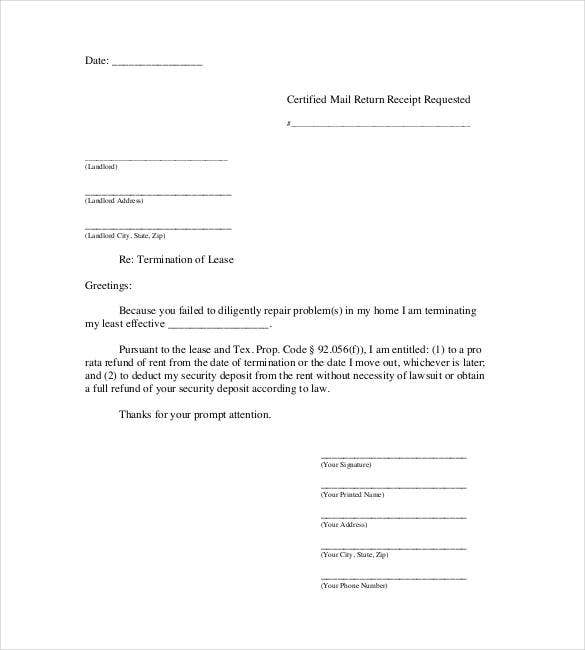 lease termination letter templates 18 sle exle notice of lease termination