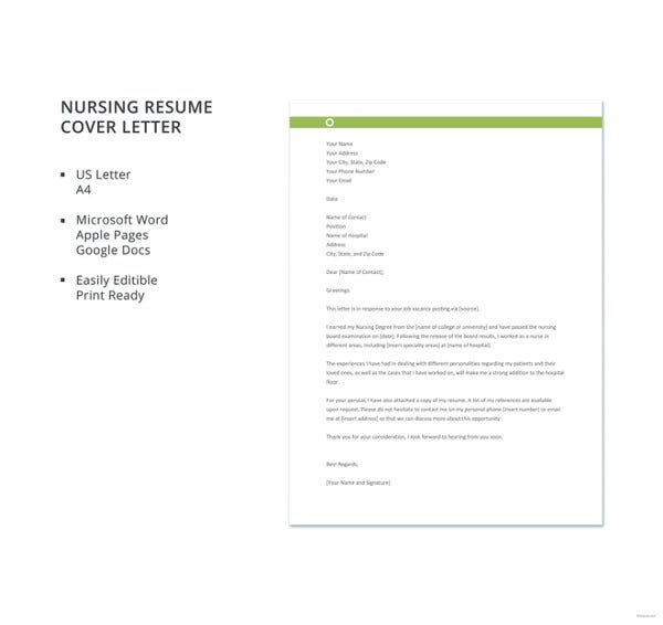 nursing job resume cover letter template